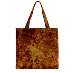 Map Of The World Old Historically Zipper Grocery Tote Bag