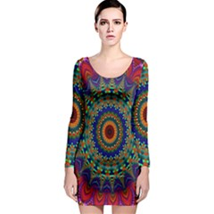 Kaleidoscope Mandala Pattern Long Sleeve Bodycon Dress