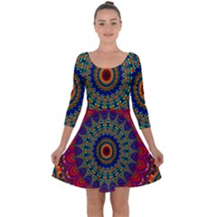 Kaleidoscope Mandala Pattern Quarter Sleeve Skater Dress