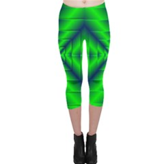 Shiny Lime Navy Sheen Radiate 3d Capri Leggings