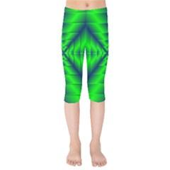 Shiny Lime Navy Sheen Radiate 3d Kids  Capri Leggings