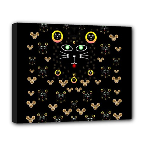 Merry Black Cat In The Night And A Mouse Involved Pop Art Deluxe Canvas 20  X 16
