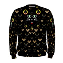 Merry Black Cat In The Night And A Mouse Involved Pop Art Men s Sweatshirt