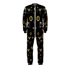 Merry Black Cat In The Night And A Mouse Involved Pop Art Onepiece Jumpsuit (kids)