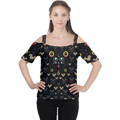 Merry Black Cat In The Night And A Mouse Involved Pop Art Cutout Shoulder Tee