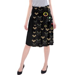 Merry Black Cat In The Night And A Mouse Involved Pop Art Midi Beach Skirt