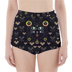 Merry Black Cat In The Night And A Mouse Involved Pop Art High Waisted Bikini Bottoms
