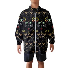 Merry Black Cat In The Night And A Mouse Involved Pop Art Wind Breaker (kids)