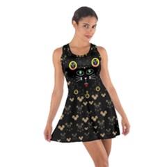 Merry Black Cat In The Night And A Mouse Involved Pop Art Cotton Racerback Dress