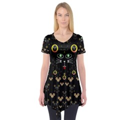 Merry Black Cat In The Night And A Mouse Involved Pop Art Short Sleeve Tunic