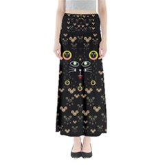 Merry Black Cat In The Night And A Mouse Involved Pop Art Full Length Maxi Skirt