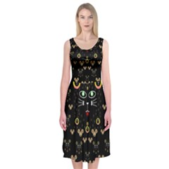 Merry Black Cat In The Night And A Mouse Involved Pop Art Midi Sleeveless Dress