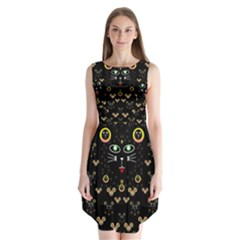Merry Black Cat In The Night And A Mouse Involved Pop Art Sleeveless Chiffon Dress