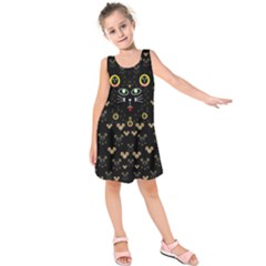 Merry Black Cat In The Night And A Mouse Involved Pop Art Kids  Sleeveless Dress