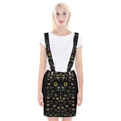 Merry Black Cat In The Night And A Mouse Involved Pop Art Braces Suspender Skirt