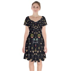 Merry Black Cat In The Night And A Mouse Involved Pop Art Short Sleeve Bardot Dress