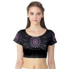 Fractal Mandala Delicate Pattern Short Sleeve Crop Top
