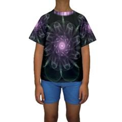 Mandala Fractal Light Light Fractal Kids  Short Sleeve Swimwear