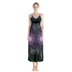 Mandala Fractal Light Light Fractal Button Up Chiffon Maxi Dress