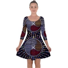 Whole Complete Human Qualities Quarter Sleeve Skater Dress