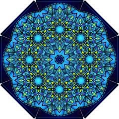 Mandala Blue Abstract Circle Hook Handle Umbrellas (small)