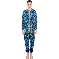 Mandala Blue Abstract Circle Hooded Jumpsuit (ladies)