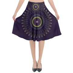 Fractal Purple Mandala Violet Flared Midi Skirt
