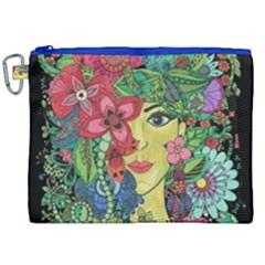 Mandala Figure Nature Girl Canvas Cosmetic Bag (xxl)