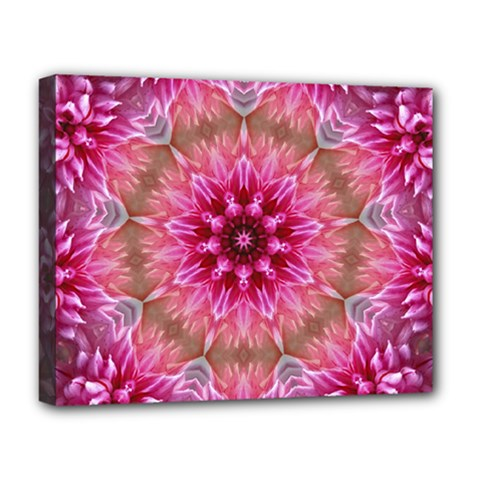 Flower Mandala Art Pink Abstract Deluxe Canvas 20  X 16