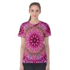Flower Mandala Art Pink Abstract Women s Cotton Tee