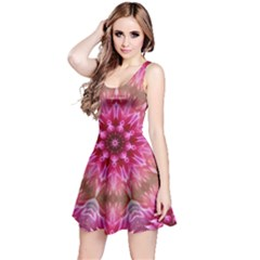 Flower Mandala Art Pink Abstract Reversible Sleeveless Dress