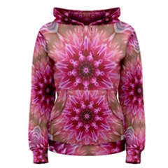 Flower Mandala Art Pink Abstract Women s Pullover Hoodie