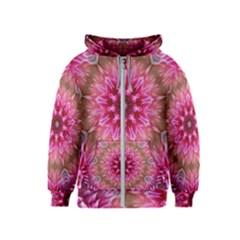 Flower Mandala Art Pink Abstract Kids  Zipper Hoodie
