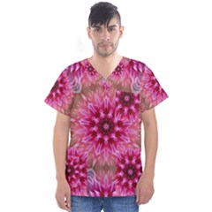 Flower Mandala Art Pink Abstract Men s V Neck Scrub Top