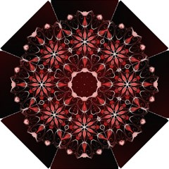Mandala Red Bright Kaleidoscope Hook Handle Umbrellas (small)