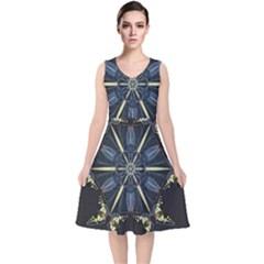 Mandala Butterfly Concentration V Neck Midi Sleeveless Dress