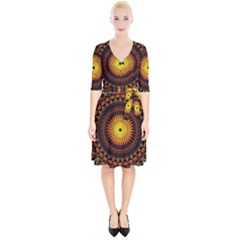 Mandala Psychedelic Neon Wrap Up Cocktail Dress