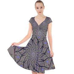 Bird Mandala Spirit Meditation Cap Sleeve Front Wrap Midi Dress