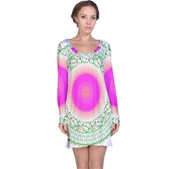 Flower Abstract Floral Long Sleeve Nightdress