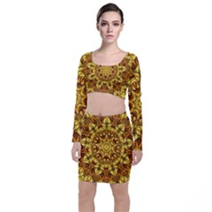 Abstract Antique Art Background Long Sleeve Crop Top & Bodycon Skirt Set
