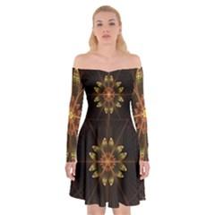 Fractal Floral Mandala Abstract Off Shoulder Skater Dress