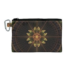 Fractal Floral Mandala Abstract Canvas Cosmetic Bag (medium)