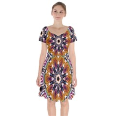 Kaleidoscope Pattern Kaleydograf Short Sleeve Bardot Dress