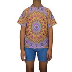 Geometric Flower Oriental Ornament Kids  Short Sleeve Swimwear