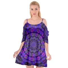Purple Kaleidoscope Mandala Pattern Cutout Spaghetti Strap Chiffon Dress
