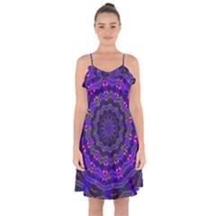 Purple Kaleidoscope Mandala Pattern Ruffle Detail Chiffon Dress