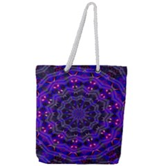 Purple Kaleidoscope Mandala Pattern Full Print Rope Handle Tote (large)