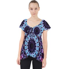 Kaleidoscope Shape Abstract Design Lace Front Dolly Top