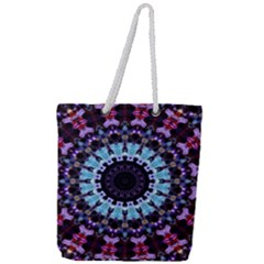 Kaleidoscope Shape Abstract Design Full Print Rope Handle Tote (large)