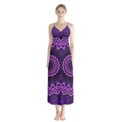 Mandala Purple Mandalas Balance Button Up Chiffon Maxi Dress